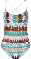 Missoni Eva Metallic Crochet-Knit Swimsuit