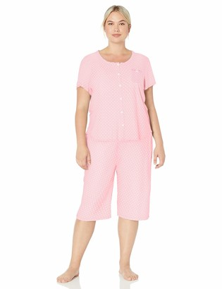 Karen Neuburger Women's Short Sleeve Cardigan Crop Pajama Set Pj