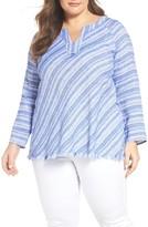 Nic+Zoe Plus Size Women's Freshwater Stripe Linen Blend Top