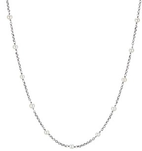 David Yurman Sterling Silver Cable Collectibles Bead & Chain Necklace with Cultured Freshwater Pearls, 36