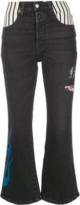 Lost Daze multi-print detail bootcut jeans