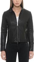 Forzieri Black Padded Leather Women's Zippered Jacket