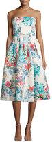 Cynthia Rowley Strapless Floral-Print Tea Dress, Beige