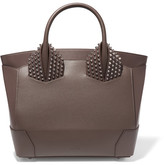 Christian Louboutin Eloise Large Spiked Textured-leather Tote - Chocolate