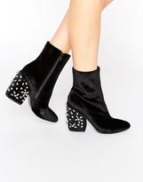 Asos ENDORIA Velvet Embellished Heel Ankle Boots