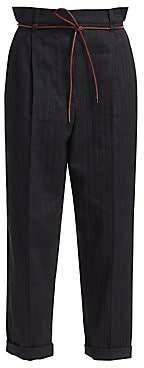Brunello Cucinelli Women's Chevron Rope Waist Rolled Cuff Pants