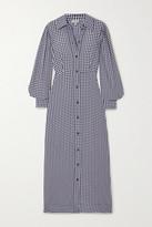 Ganni Gingham Crepe Maxi Shirt Dress