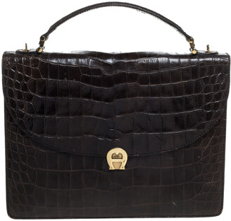 Aigner Black Croc Embossed Leather Logo Buckle Flap Top Handle Bag