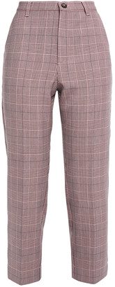 Ganni Cropped Prince Of Wales Checked Woven Slim-leg Pants