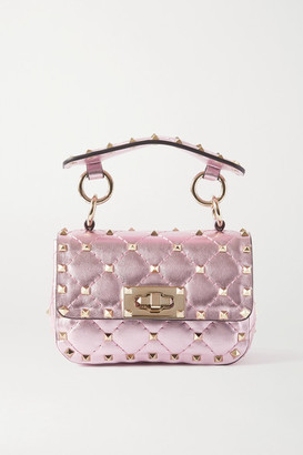 Valentino Garavani Rockstud Spike Micro Quilted Metallic Leather Shoulder Bag - Pink