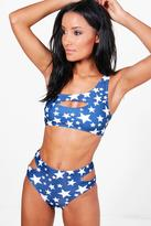 Boohoo Miami Star Print One Shoulder Cut Out Bikini