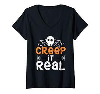 Womens Happy Halloween Spider Web Creep It Real Funny Gift V-Neck T-Shirt