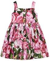 Dolce & Gabbana Pink Rose Print Button Front Cotton Dress