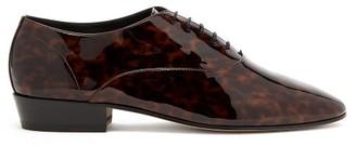 Saint Laurent Leon Patent Leather Derby Shoes - Mens - Black Brown
