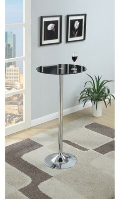 Ebern Designs Chenault Metal Base Pub Table with Round Glass Top Ebern Designs