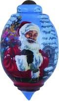 "Precious Moments 7151127 Christmas Gifts, ""Santa's Magic Bag"" Artist Dona Gelsinger, Trillion-Shaped Glass Ornament"