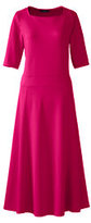 Classic Women's Plus Size Elbow Sleeve Pont&eacute Flounce Dress-Coral Ruby