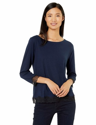 Majestic Filatures Women's Cotton/Cashmere Button-Back Boat Neck w/Lace Trim