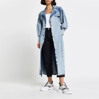 River Island Womens Blue long sleeve denim trench jacket