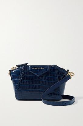 Givenchy Antigona Nano Croc-effect Leather Shoulder Bag - Navy