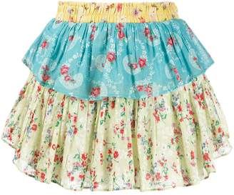 LoveShackFancy floral ruffle mini skirt