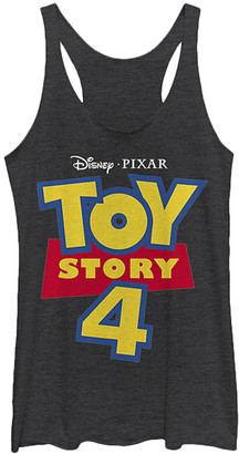 Fifth Sun Women's Tank Tops BLK - Toy Story 4 Black Heather Full Color Logo Raw-Edge Racerback Tank - Women & Juniors
