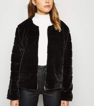 New Look Mela Zip Front Faux Fur Coat