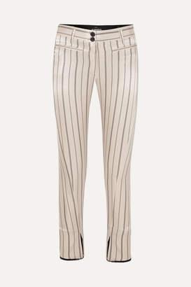 Ann Demeulemeester Cropped Striped Cotton-blend Satin Slim-leg Pants - Ecru