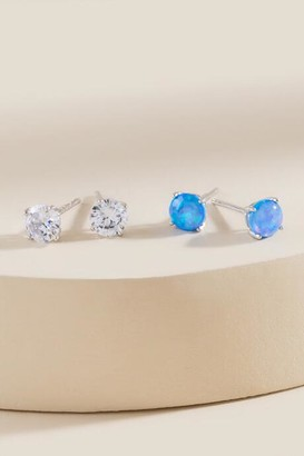 francesca's Nya Cubic Zirconia Stud Set In Blue - Blue