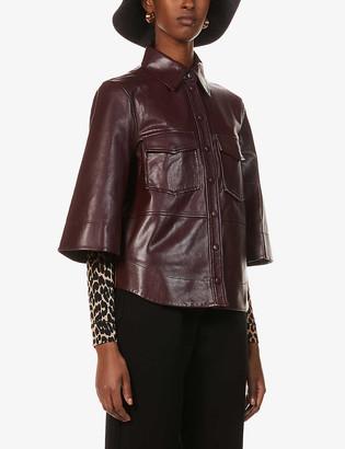 Ganni Patch-pocket leather shirt