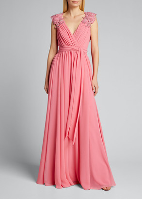 Badgley Mischka Couture Floral-Shoulder Chiffon Gown