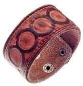 Urban Male Genuine Brown Leather Embossed Cuff Bracelet