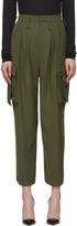 Balmain Khaki Wool High Waist Cargo Trousers