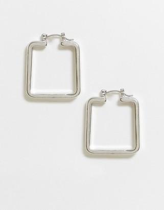ASOS DESIGN hoop earrings in sleek square in silver tone
