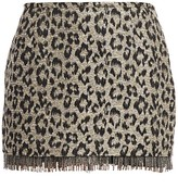 Le Superbe Jewel Box Fringed Leopard Print Skirt