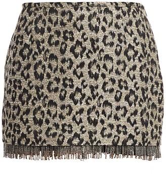 le superbe Jewel Box Fringed Leopard Print Skirt