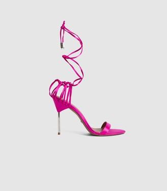 Reiss ZHANE SATIN STRAPPY WRAP SANDALS Bright Pink
