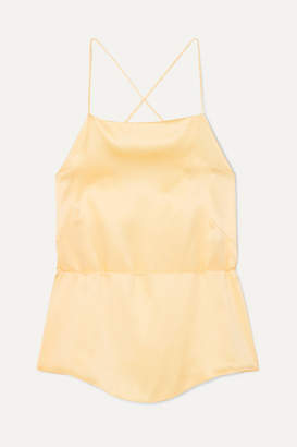 HARMUR - Tie-back Silk-satin Camisole - Pastel yellow