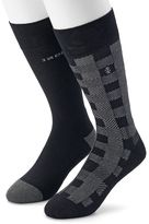 Izod Men's 2-pack Buffalo Check & Solid Crew Socks