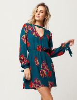 SKY AND SPARROW Floral Tie Sleeve Dress