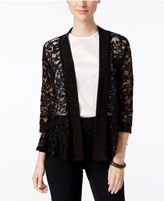 R & M Richards Three-Quarter-Sleeve Sequined Lace Jacket