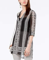 INC International Concepts I.n.c. Striped Sheer Tunic, Created for Macy's