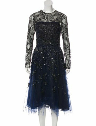 Oscar de la Renta Embellished Lace Midi Dress blue