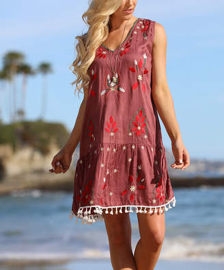 Ananda's Collection Women's Casual Dresses copper - Copper Floral Embroidered Tassel-Hem Sleeveless Dress - Women
