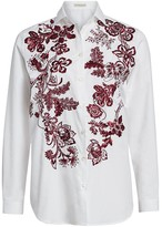Etro Embroidered Floral Cotton Poplin Shirt