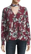 Parker Hamlet Mock-Neck Bouquet Floral-Print Silk Blouse
