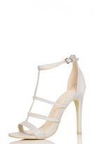 Quiz Silver Shimmer 3 Strap T-Bar Sandals