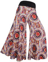 BAISHENGGT Women's Printed Color Block Wide Leg Palazzo Pants