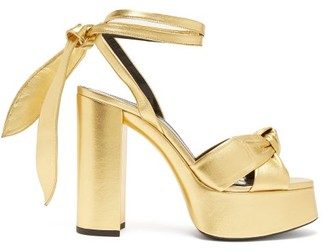 Saint Laurent Bianca Metallic-leather Platform Sandals - Gold
