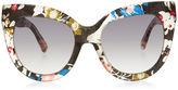 Linda Farrow x Erdem Multi Colour Floral Acetate Sunglasses